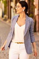 armonika Kadın Mavi Keten Tek Düğmeli İnce Çizgili Ceket ARM-19Y001078