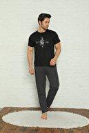 Muka Erkek Siyah Gemi Baskılı Çizgili Pijama Takımı