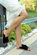 Pembe Potin Siyah Nubuk Kadın Terlik A888-19