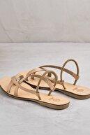Elle ANIYA Hakiki Deri Naturel Kadın Sandalet