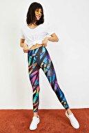 Bianco Lucci Kadın Çok Renkli Digital Baskılı Toparlayıcı Fitness Tayt 10031056