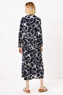 Marks & Spencer Kadın Lacivert Çiçek Desenli Relaxed Midi Elbise T42007609