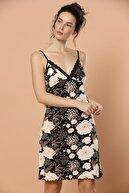 Siyah İnci Kadın Desenli Ip Askılı Dantel Detaylı Viskon Elbise