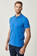Altınyıldız Classics Erkek Royal Mavi Polo Yaka Cepsiz Slim Fit Dar Kesim %100 Koton Düz Tişört