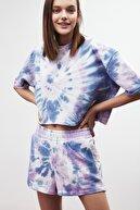 GRIMELANGE KIMBER Kadın Mor T-shirt&Şort Yıkamalı Bisiklet Yaka Alt-Üst Set
