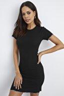 Cool & Sexy Kadın Siyah U Yaka Kaşkorse Elbise Yİ2175