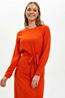 Defacto Volan Detaylı Regular Fit Dokuma Elbise