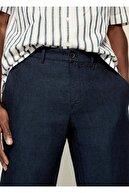 Mango Erkek Lacivert Keten Dar Kesim Pantolon