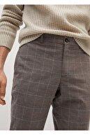 Mango Dar Kesim Kareli Pamuklu Pantolon