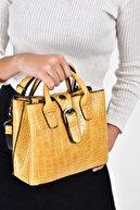 Bagzone Sarı Kadın  Kroko Omuz Çantası 10VA2043