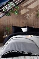 Ev & Ev Home Çift Kişilik Anna Yatak Örtüsü Saçaklı Çizgili-Elmas Antrasit