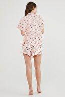 Penti Kadın Pembe Berries And Stripe Ss Gömlek Şort Pijama Takımı