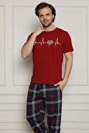 PİJAMAWOME Erkek Baskılı Sevgili Çift Bordo Pamuklu Pijama Takımı Satışı Tek Ürün Için Geçerlidir (ERKEK)