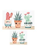 Soley Dijital Three Cactus  Banyo Paspas Seti Klozet Takımı   2'li 0456 01