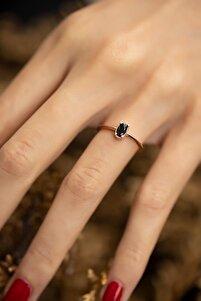 Kadın Oval Dişli Model Siyah Zirkon Taşlı Rose Gümüş Minimal Yüzük PKT-İZLASLVR00229
