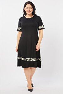 Kadın Siyah Şerit Detaylı Esnek Viskon Kumaş Elbise