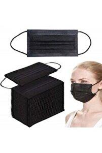 Commando 50 Adet Siyah Tek Kullanımlık Lastikli Telli 3 Katlı Cerrahi Koruyucu Yüz Maskesi 1177s