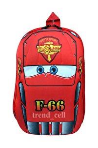 Anaokulu Çocuk Sırt Çanta  Yarış Arabası 4 5 6 7 Yaş 5d Boyutlu Su Geçirmez Kırmızı