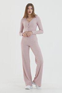 Kadın Pembe Önden Düğmeli Uzun Kollu Crop Takım