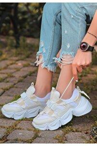 Beyaz Cilt Krem Detaylı Spor Ayakkabı