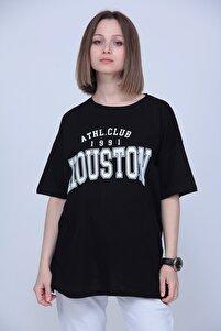 Kadın Siyah Houston Baskılı Oversize T-shirt