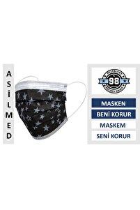 Siyah Yıldız Desenli Meltblown Filter %98+ Koruma 3 Katlı Ultrasonik Medikal Maske 50 Adet