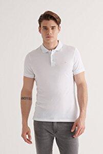 Erkek Beyaz Polo Yaka Düz T-shirt E001004