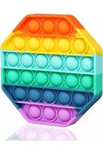 Pop It Push Bubble Fidget Özel Pop Duyusal Oyuncak Zihinsel Stres(rainbow Renk, Sekizgen)