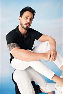 Erkek Siyah Polo Yaka Düz T-shirt A11b1146