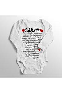 Unisex Bebek Beyaz Babam İyi Ki Benim Babamsın İlk Göz Ağrın Baskılı Zıbın