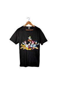 Unisex Siyah Pamuklu Disney Mickey Baskılı T-shirt Pst3021