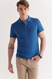 Erkek Indigo Polo Yaka Düz T-shirt E001004