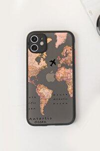 Iphone 11 Transparan Harita Tasarımlı Siyah Hux Telefon Kılıfı