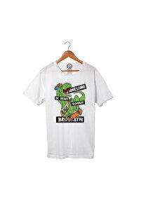 Unisex Beyaz Pamuklu Brooklyn Dino T-Shirt Pst3226