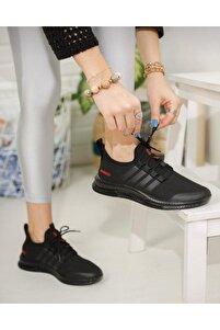 Unisex Spor Siyah Tam Ortopedik Triko Sneaker Ayakkabı