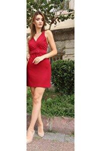 Kadın Kırmızı Kemerli Sırt Detaylı Elbise Bordo