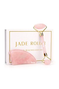 Pembe Kuvars Quartz Jade Roller ve Guasha Yüz Masaj Aleti Takımı Face Premium