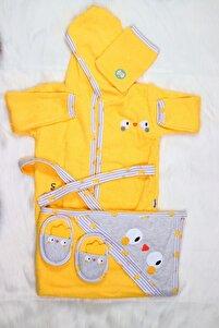 Unisex Bebek Sarı Civciv Bornoz Havlu Takımı
