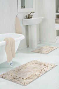 60x90 - 50x60 Alya Gold Dijital Banyo Halısı Klozet Takımı 2'li Paspas Seti