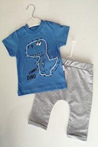 Erkek Bebek Mavi Renk Dinozor Baskılı 100 % Pamuk Alt Üst Takım