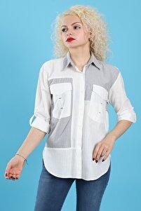 Kadın Garnili Cepli Düğmeli Katlanabilir Uzun Kollu Arkası Uzun Asimetrik Kesim Laci Ekru Gömlek