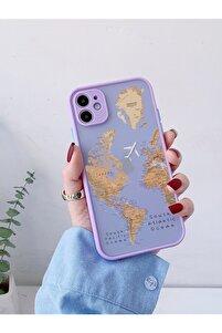 Iphone 11 Lila Kamera Lens Korumalı Dünya Harita Desenli Lüx Telefon Kılıfı Uyumlu