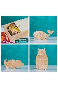Ahşap Kutusunda Doğal Ağaç Puzzle Hobi Boyama Hayvanlar Serisi Seti 105