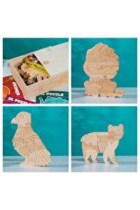Özel Ahşap Kutusunda Doğal Ağaç Puzzle Hobi Boyama Hayvanlar Serisi Seti 107