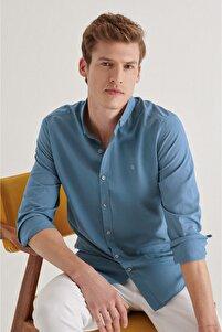Erkek Indigo Düz Düğmeli Yaka Slim Fit Uzun Kol Vual Gömlek A11b2206
