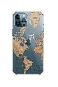 Iphone 12 Pro Uyumlu Dünya Harita Desenli Premium Şeffaf Silikon Kılıf