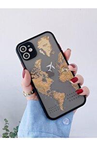 Iphone 11 Uyumlu Siyah Kamera Lens Korumalı Dünya Harita Desenli Lüx Telefon Kılıfı