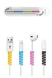 Spiral Kablo Koruyucu Silikon Şarj Kablosu Kulaklık Kablosu Koruyucu