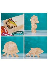 Sl Özel Ahşap Kutusunda Doğal Ağaç Puzzle Hobi Boyama Hayvanlar Serisi Seti 106