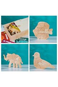 Özel Ahşap Kutusunda Doğal Ağaç Puzzle Hobi Boyama Hayvanlar Serisi Seti 109